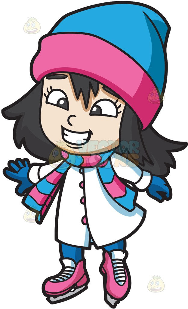 Ice skating character clipart stock A Happy Girl Ice Skating On The Rink Cartoon Clipart stock