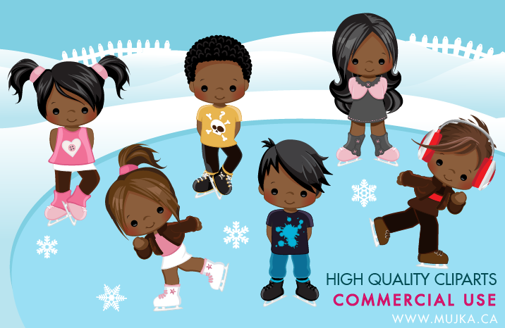 Ice skating character clipart banner freeuse library African American Ice Skating Characters Clipart – MUJKA CHIC BLOG banner freeuse library