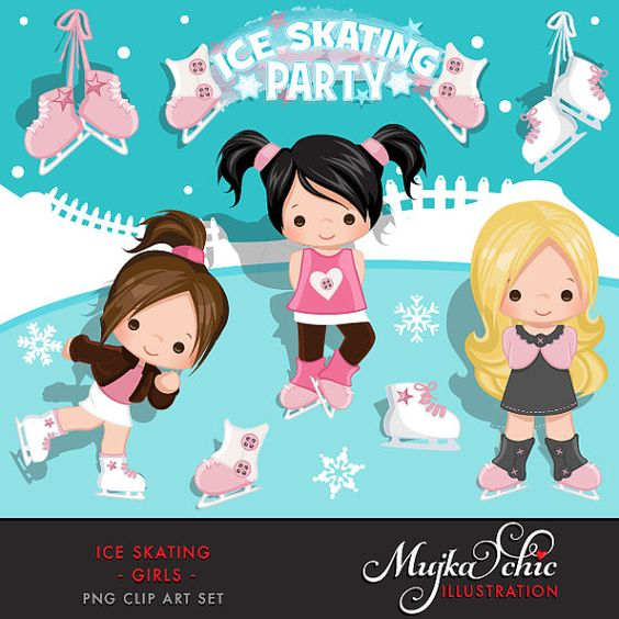 Ice skating character clipart png freeuse library Ice Skating Clipart Winter Outdoor Graphics Ice Skating with cute ... png freeuse library