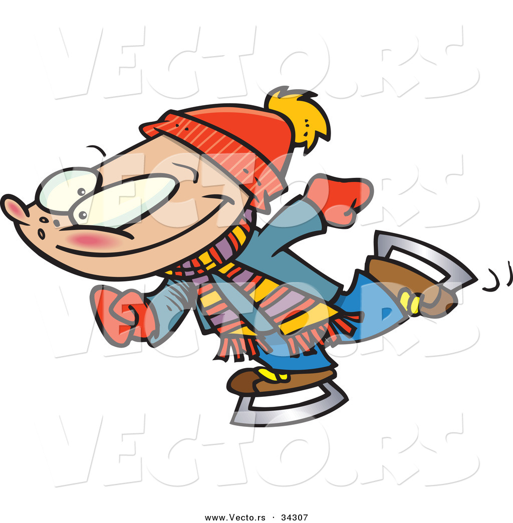 Ice skating character clipart graphic royalty free stock Vector of a Happy Cartoon Boy Ice Skating by Ron Leishman - #34307 graphic royalty free stock