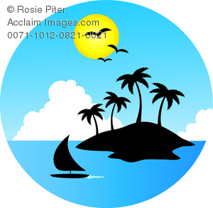 Iclipart search clip art Clipart Image of A Boat Sailing By a Tropical Island - Acclaim ... clip art