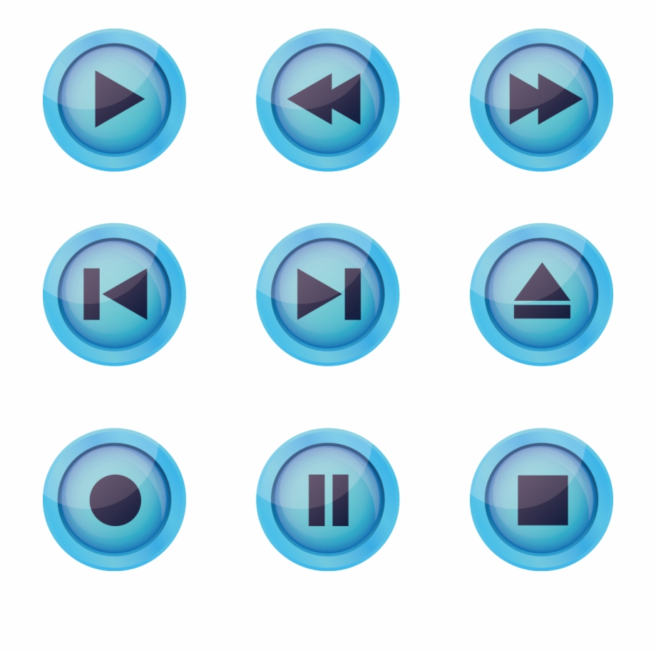 Iconos clipart jpg black and white Blue Play Associated Button Euclidean Vector Icon Clipart - Iconos ... jpg black and white