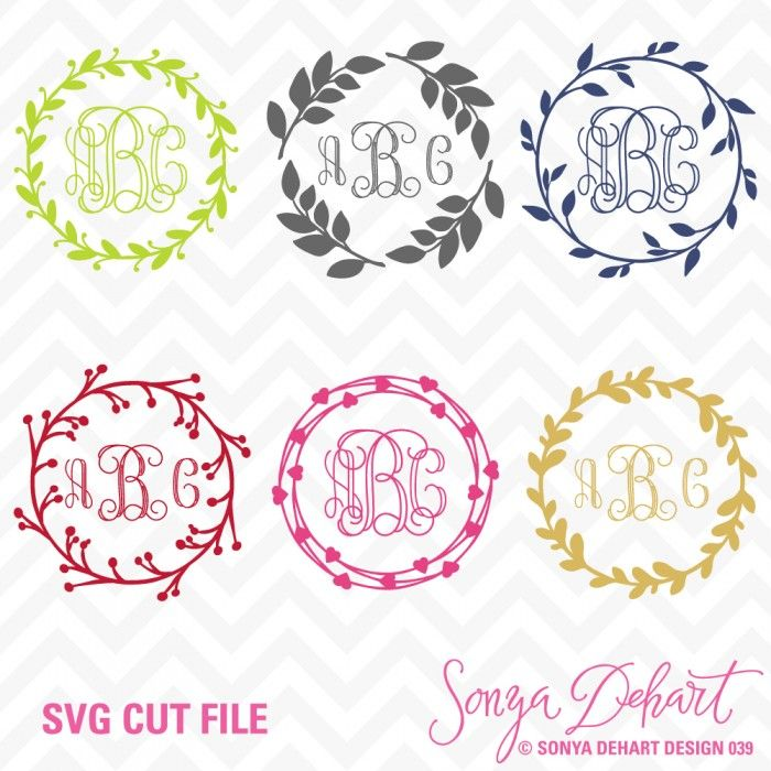 Ideas for clipart vinyl in frams for cricut image Monogram Wreaths SVG Cuttables #svg #cuttables #silhouette #cricut ... image