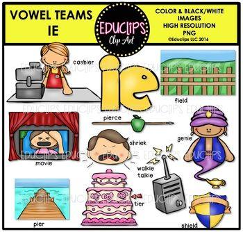 Ie clipart fix library Long E Vowel Team \'ie\' (e sound) - Clip Art Bundle {Educlips Clipart ... library