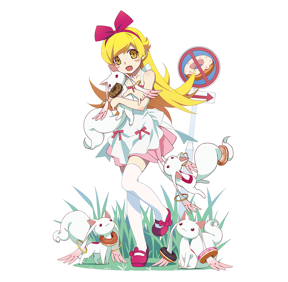 If you give a dog a donut clipart png black and white library Shinobu, Kyubey, and Donuts : araragi png black and white library
