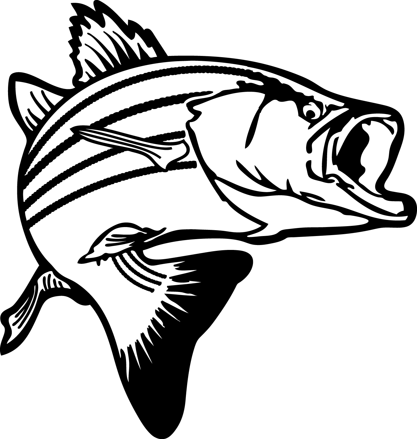 Jumping bass clip art. Fish clipart in black and white