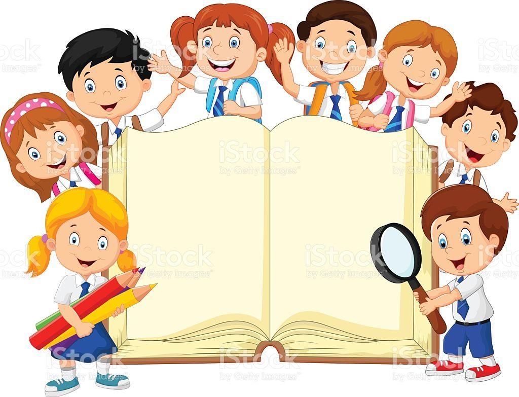 Image clipart libre de droit image freeuse download Vector illustration of Cartoon school children with book isolated on ... image freeuse download