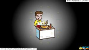 Image of a boy who stirs and cooks clipart clipart free stock Clipart: A Happy Man Making A Home Cooked Meal on a White And Black  Gradient Background clipart free stock