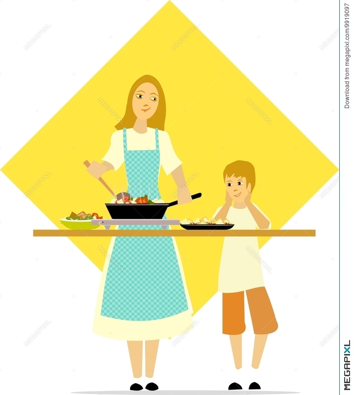 Image of a boy who stirs and cooks clipart clipart black and white Little Boy Watches Mom Cooking Illustration 9919097 - Megapixl clipart black and white