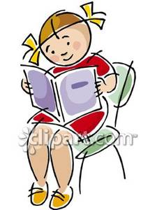 Image of a girl in bed on the chair clipart vector library library A Girl Sitting In a Chair Reading a Book Royalty Free Clipart Picture vector library library