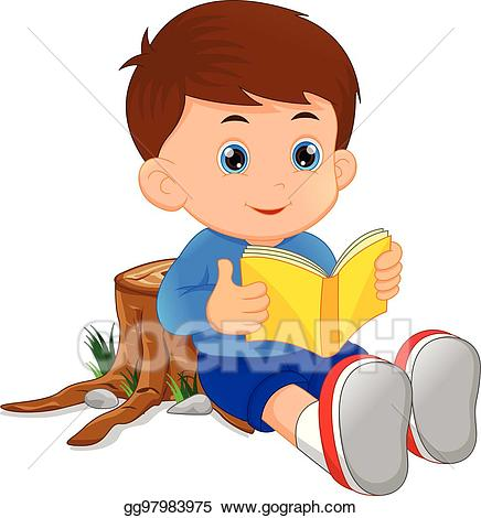 Image of clipart boy reading book picture freeuse Clip Art Vector - Cute little boy reading book. Stock EPS gg97983975 ... picture freeuse