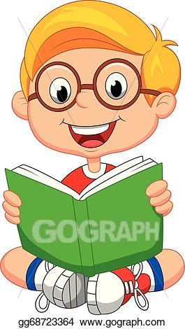 Image of clipart boy reading book svg free library Vector Clipart - Young boy cartoon reading book. Vector Illustration ... svg free library
