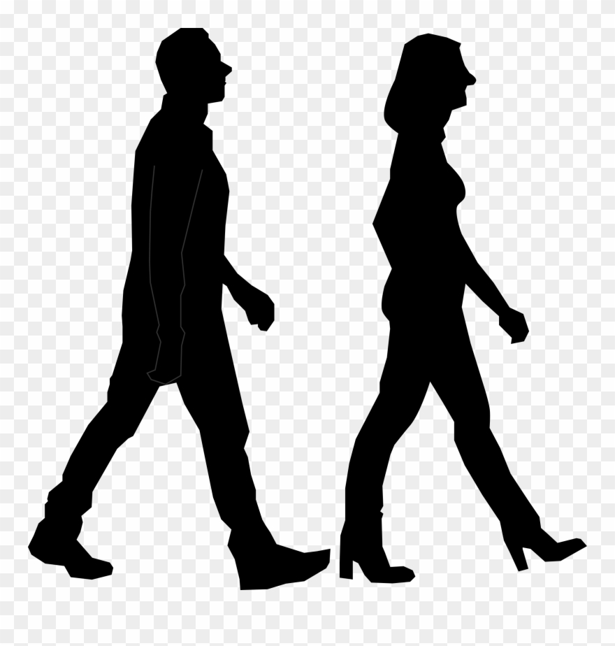 People walking clipart clipart black and white stock Walking Silhouette Person - People Walking Silhouette Png Clipart ... clipart black and white stock