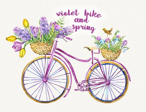 Image of retro bicycle with basket of spring flowers clipart transparent stock Bike clipart Bicycle clipart Spring flower clipart Watercolor ... transparent stock