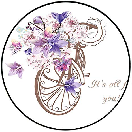 Image of retro bicycle with basket of spring flowers clipart graphic download Amazon.com: Short Plush Rugs matFloral Bicycle with Basket of ... graphic download