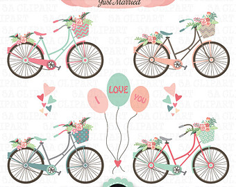 Image of retro bicycle with basket of spring flowers clipart graphic freeuse Free Vintage Bicycle Cliparts, Download Free Clip Art, Free Clip Art ... graphic freeuse