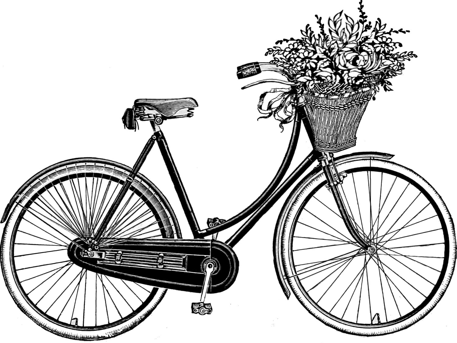 Image of retro bicycle with basket of spring flowers clipart picture black and white library Free Vintage Bicycle Cliparts, Download Free Clip Art, Free Clip Art ... picture black and white library