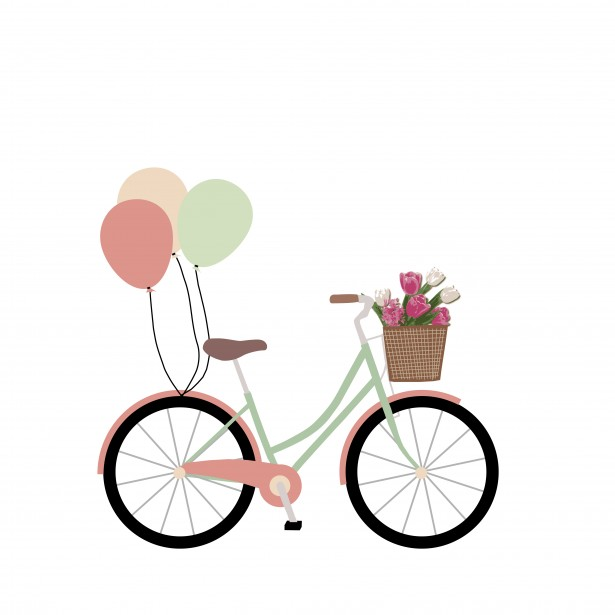 Image of retro bicycle with basket of spring flowers clipart clip art free download Bike, Bicycle With Balloons Clipart Free Stock Photo - Public Domain ... clip art free download