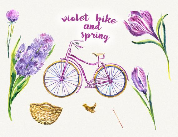 Image of retro bicycle with basket of spring flowers clipart jpg transparent stock Bike clipart Bicycle clipart Spring flower clipart Watercolor ... jpg transparent stock