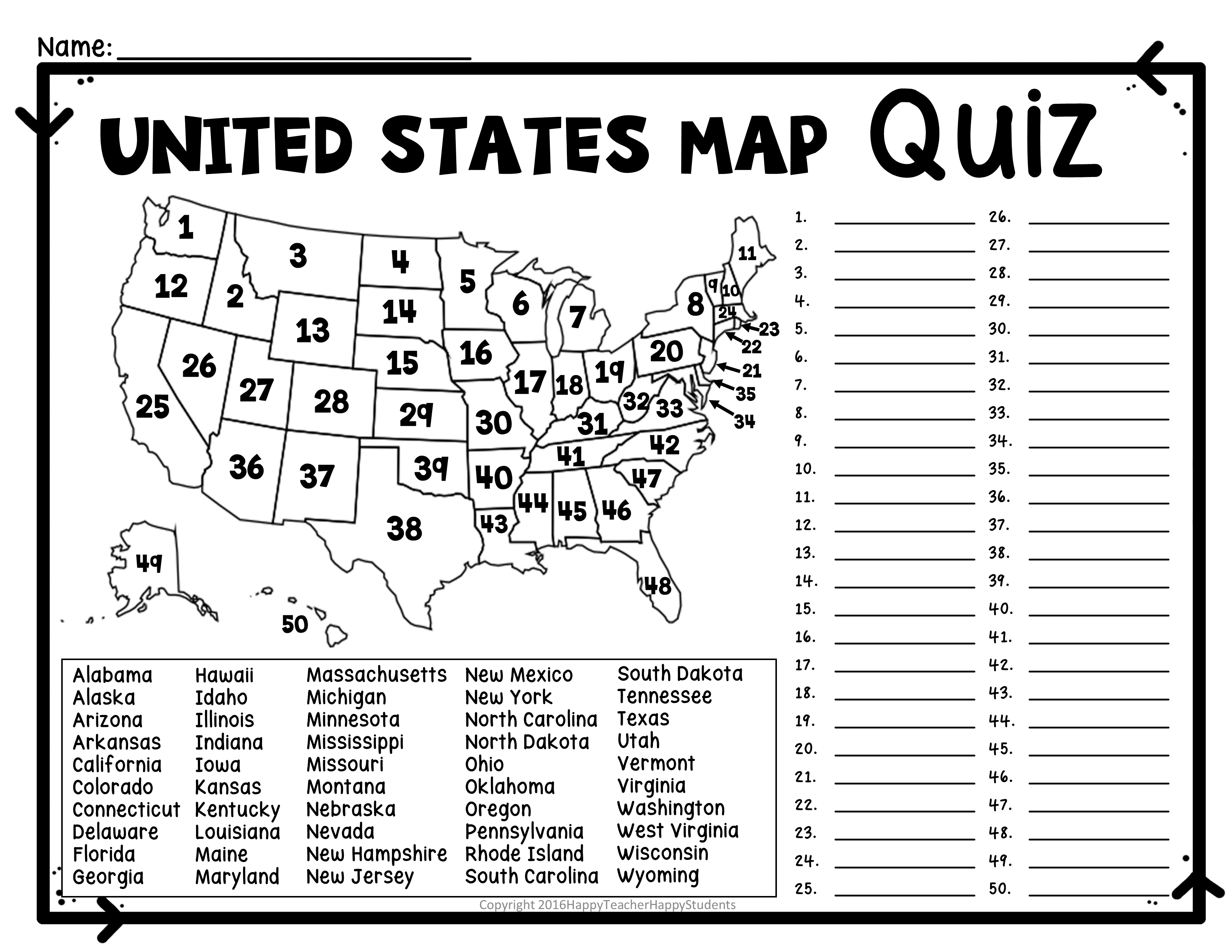 Image of tests quizzes elementary school clipart png black and white download United States Map Quiz & Worksheet: USA Map Test with Practice ... png black and white download