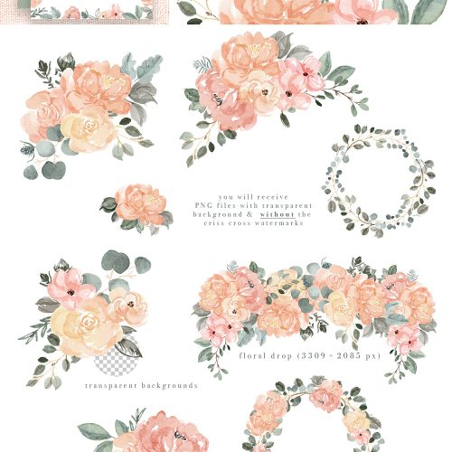 Image result for teal sage pink flowers clipart clip library Watercolor Floral Clip Art, Peach Blush Pink Sage Dusty ... clip library