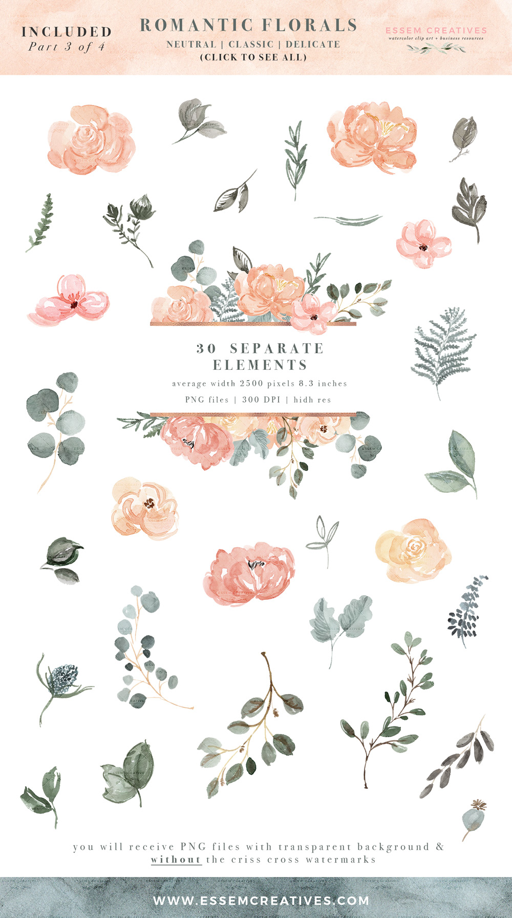 Image result for teal sage pink flowers clipart graphic royalty free Watercolor Floral Clip Art, Peach Blush Pink Sage Dusty Green Romantic  Flower Background PNG, Wedding Birthday Invitations graphic royalty free