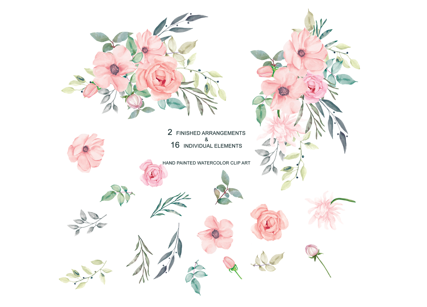 Image result for teal sage pink flowers clipart clip art library download Blush paintings search result at PaintingValley.com clip art library download