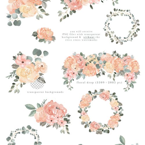 Image result for teal sage pink flowers clipart png freeuse stock Watercolor Floral Clip Art, Peach Blush Pink Sage Dusty ... png freeuse stock