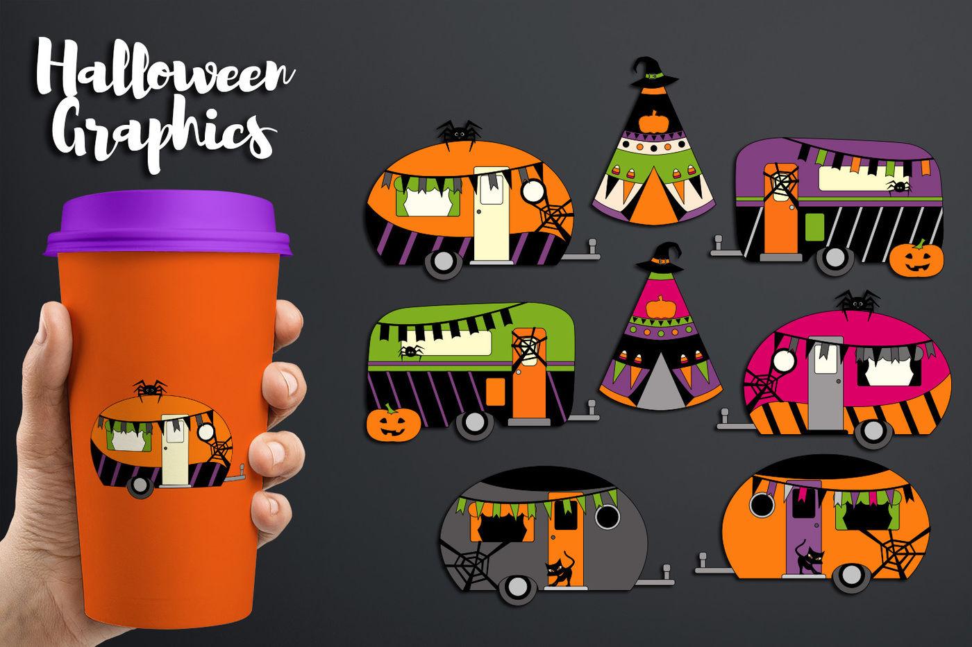 Image rv off we go clipart jpg freeuse library Camper Caravan RV Clip art, Halloween graphics By ... jpg freeuse library
