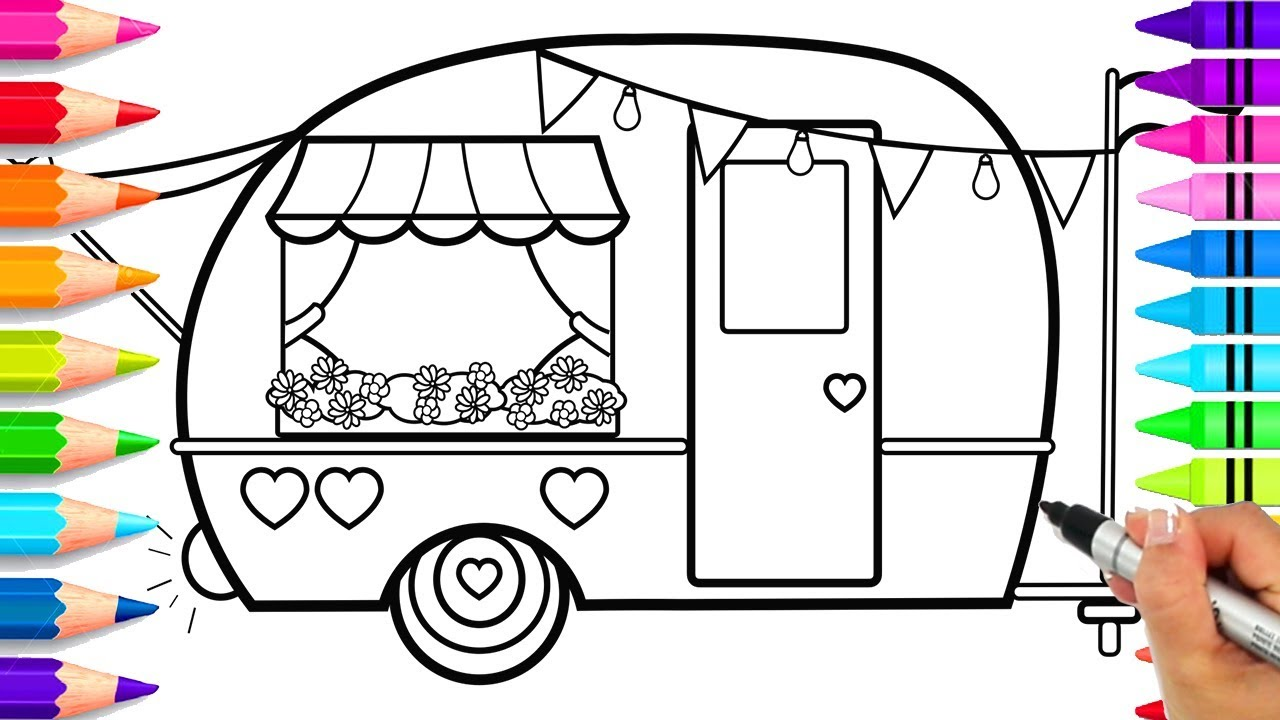 Image rv off we go clipart clip art free library How to Draw a Cute Camper for Kids Step by Step | Cute Camping Coloring  Pages | How to Draw an RV clip art free library