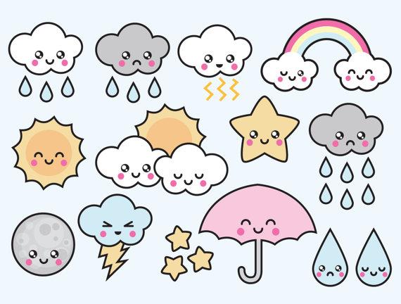 Imagenes clipart kawaii graphic transparent Premium Vector Clipart - Kawaii Weather Clipart - Kawaii ... graphic transparent