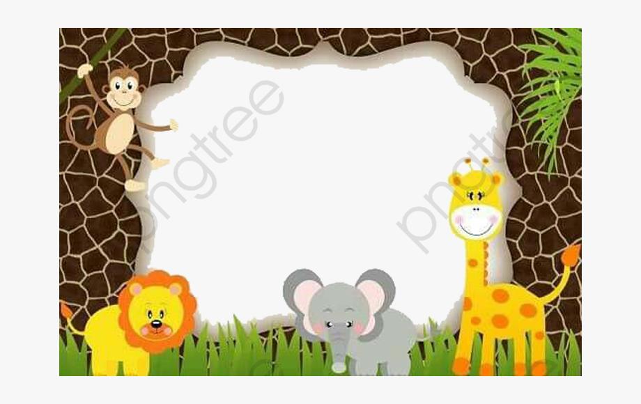 Imagenes clipart para editar royalty free Cute Animal Clipart Frame - Safari Bebe Invitaciones Para ... royalty free