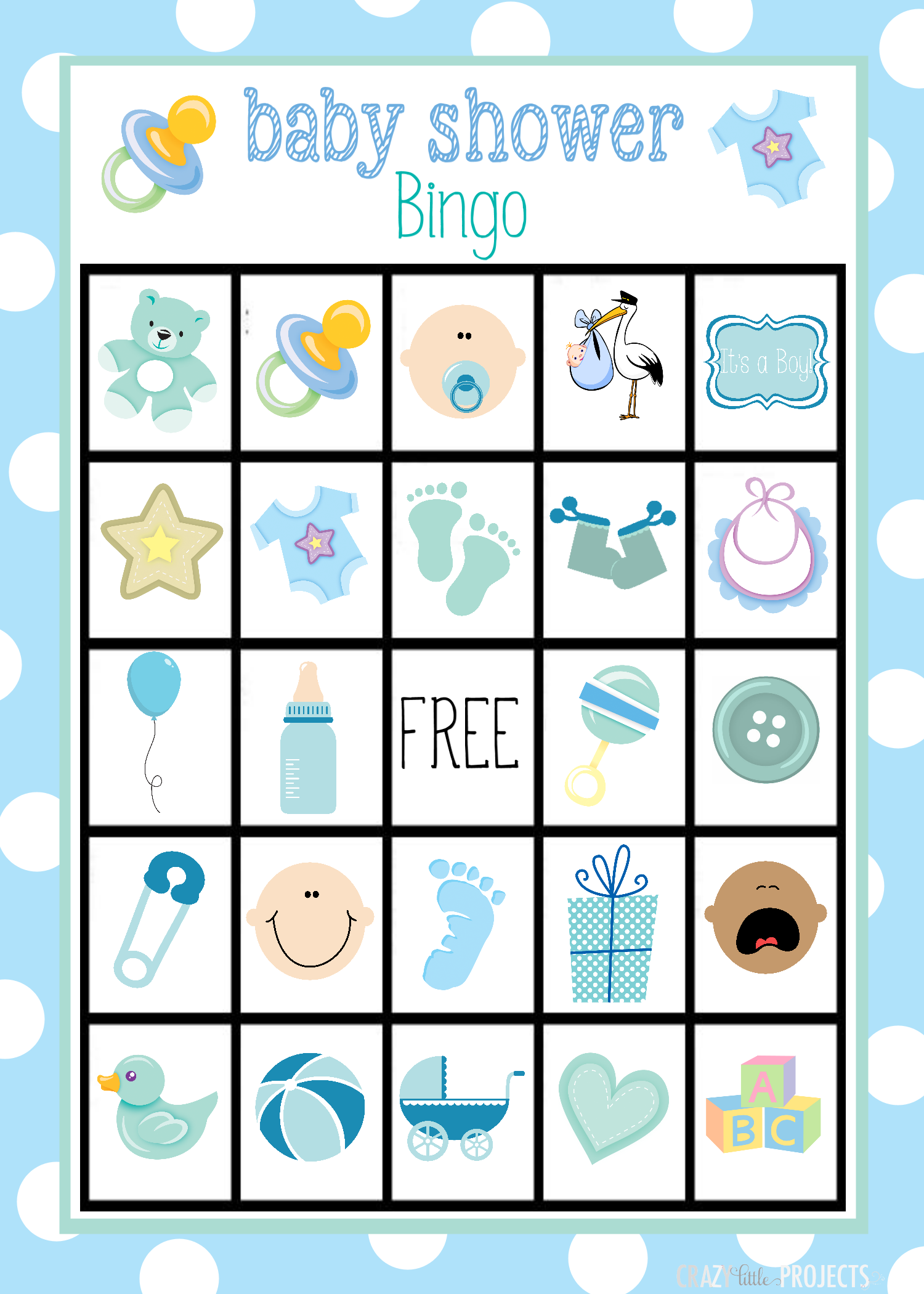Imagenes para baby shower ni+-a clipart image free Printable Baby Shower Bingo Cards | Haleys baby shower ... image free