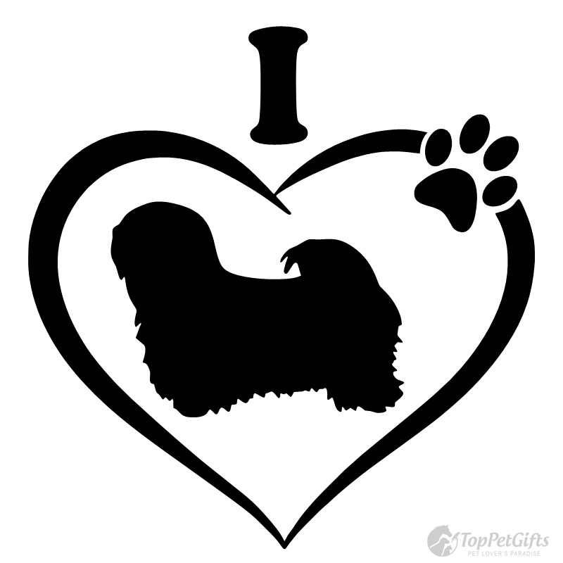 Images clipart black and white lhasa apso dog clipart black and white stock I Love My Lhasa Apso Decal clipart black and white stock