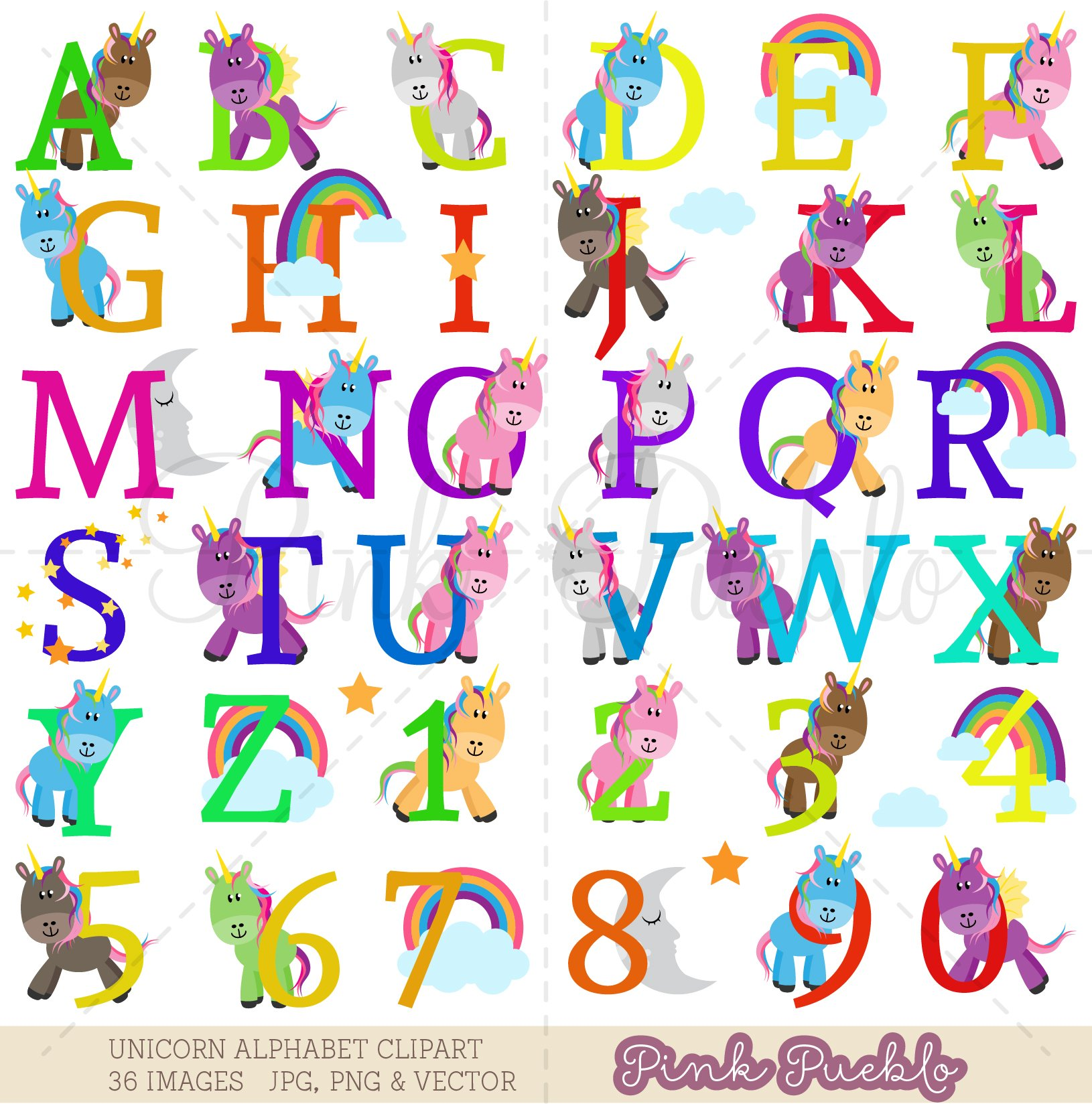 Images of alphabet clipart clip art black and white library Uppercase Unicorn Alphabet Clipart & Vectors clip art black and white library