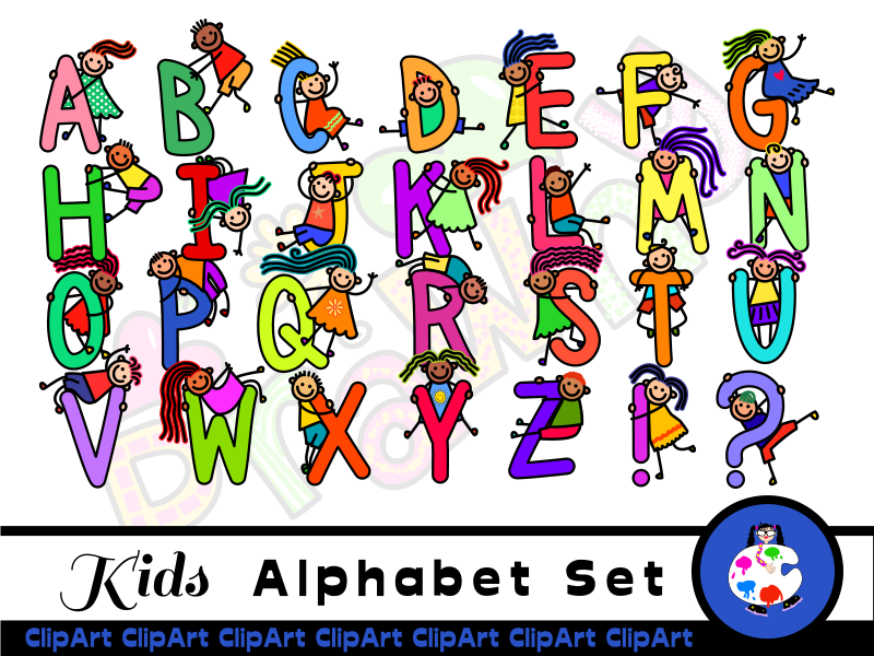 Images of alphabet clipart vector freeuse stock Diverse Happy Kids Alphabet ClipArt vector freeuse stock