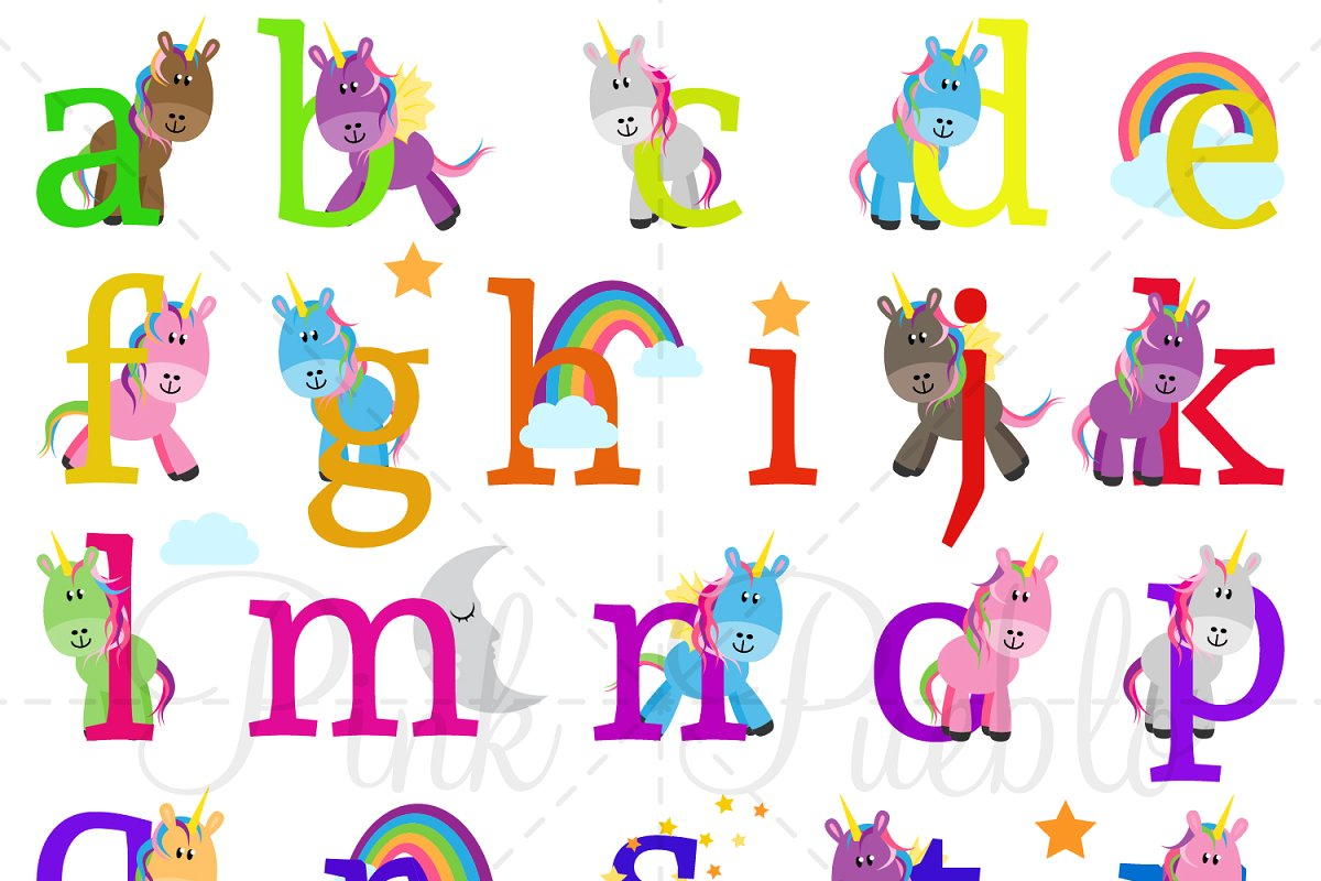 Images of alphabet clipart clip black and white library Lowercase Unicorn Alphabet Clipart clip black and white library
