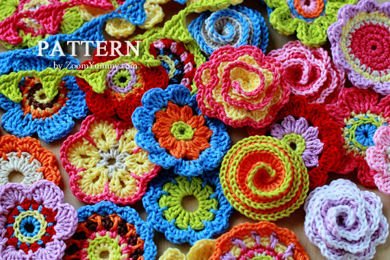 Images of big flowers clip royalty free Big Flower Party (Pattern No. 001) « Zoom Yummy – Crochet, Food ... clip royalty free