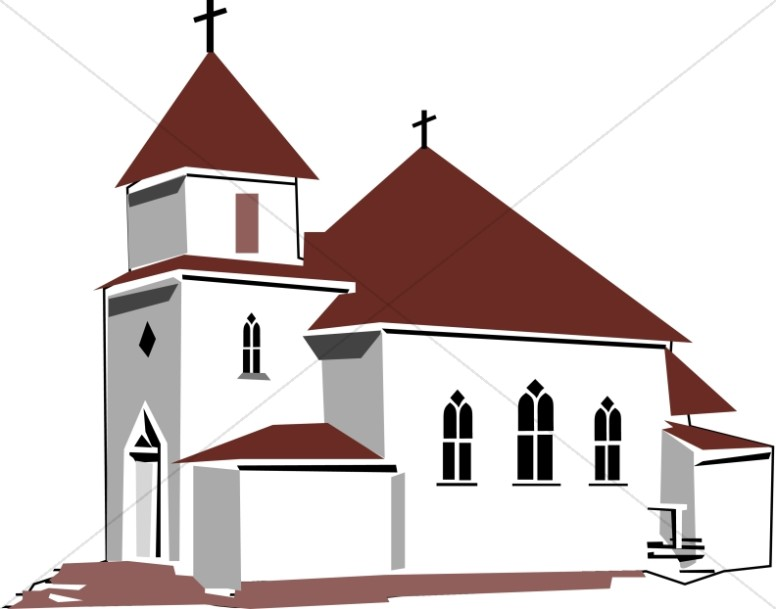 Images of church clipart vector black and white Red and Tan House of Worship   Church Clipart vector black and white