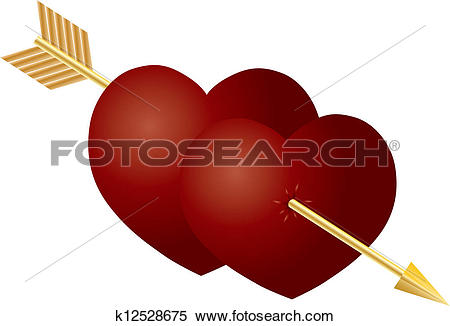 Images of double hearts with arrow clipart jpg download Clipart of Valentines Day Double Hearts with Arrow k12528675 ... jpg download