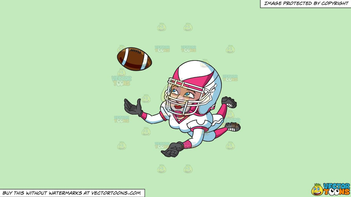 Images of football player catching ball clipart jpg royalty free stock Clipart: A Female Football Player Catching The Ball on a Solid Tea Green  C2Eabd Background jpg royalty free stock