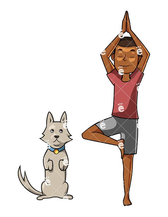 Imitate clipart png free download A Black Man Holding A Yoga Pose As His Puppy Tries To Imitate Him ... png free download