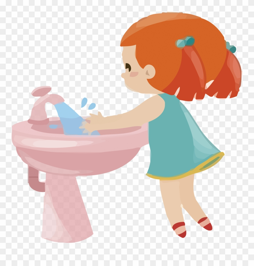 Importance of washing hands and hygiene kids clipart vector free library 儿童洗手场景 - Clipart Girl Washing Hands - Png Download (#817990 ... vector free library
