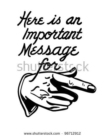 Important message clipart picture black and white library Important Message - Pointing Hand - Retro Clipart Illustration ... picture black and white library