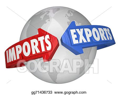 Imports clipart royalty free Stock Illustration - Imports exports arrows around world global ... royalty free