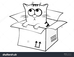 In and out a box clipart black and white freeuse library Image result for clipart black and white+box+cat | clipartsP2SA12018 ... freeuse library