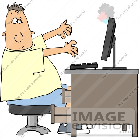 In front of computer clipart image black and white stock Man sitting in front of computer clipart - ClipartFest image black and white stock