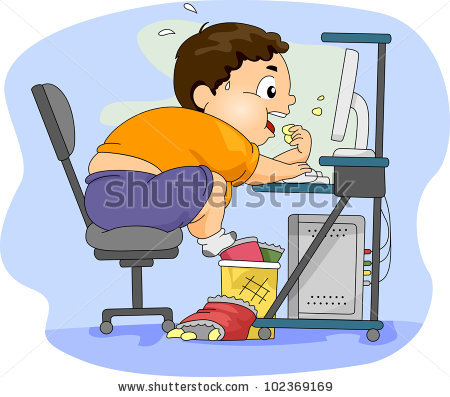 In front of computer clipart clipart freeuse library Illustration Overweight Boy Eating Front His Stock Vector ... clipart freeuse library