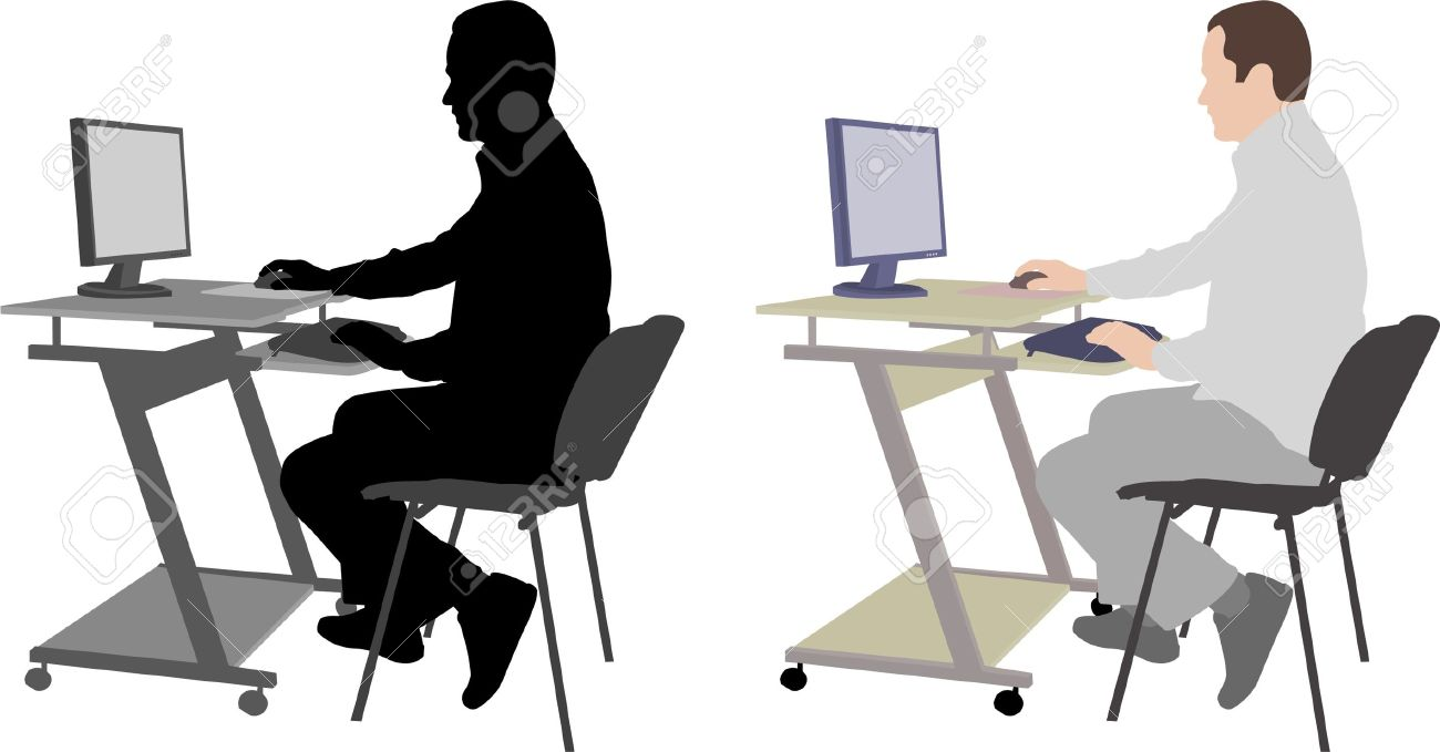 In front of computer clipart svg black and white download Man sitting in front of computer clipart - ClipartFest svg black and white download