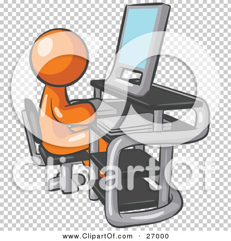 In front of computer clipart vector stock Clipart Illustration of an Orange Man Sitting At A Desk In Front ... vector stock